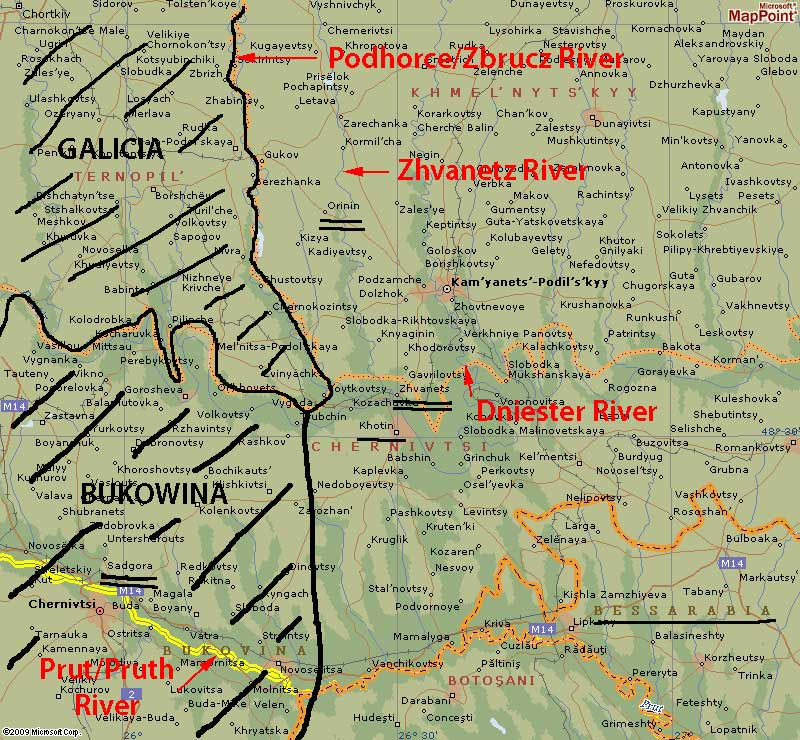 this map focuses on the area of sw ukraine where the biggest city was and still is kamenetz podolsk at the bottom of the map the area called botosani is